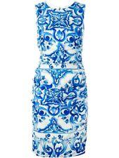 Dolce & Gabbana AUTH Maiolica Tile Print Ruched Charmeuse Dress 46 NWT Majolica