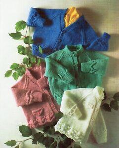 Baby DK Knitting Pattern V-Neck Round Neck  Cardigans  Sizes 16-22 inches #126