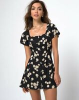MOTEL ROCKS Zavacca Tea Dress in Grunge Daisy Floral Extra Small XS   (mr7.1)