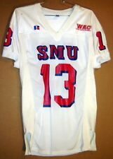 SMU Mustangs Chas Schavrda White #13 Game Used NCAA College Football Jersey