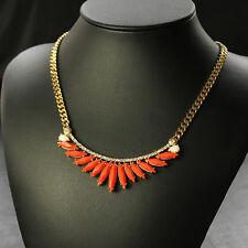 Collana Piuma Cigno Arancione Cristallo Moderno Originale Sera Matrimonio QT 7