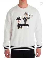 New Dolce & Gabbana Embroidered Piano White/Black Sweatshirt Size 48/M $995.00