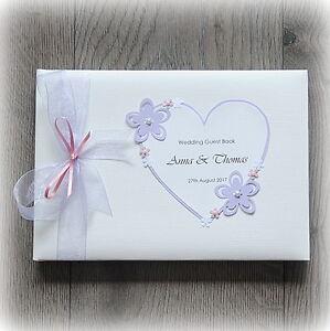 Beautiful Luxury Personalised Wedding/ Birthday Guest Book/ Handmade + Box