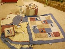 BABY CRIB BEDDING NURSERY SET BOY MARTEX BLUE BURGANDY PLAID TEDDY BEAR ABC 123