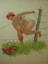 Duane Bryers Calendar Illustration Hilda Redhead Pinup Apples Barb Wire Bluebird