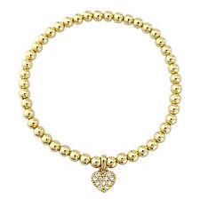 Pretty 18K Gold Tone Link Chain Crystal Heart Charm Bracelet Swarovski Elements