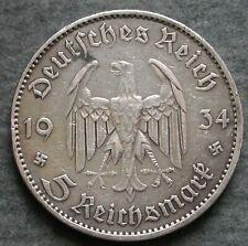 MONETA COIN GERMANIA DEUTSCHLAND 5 MARK 1934.A POTSDAM ARGENTO SILBER SILVER  #2