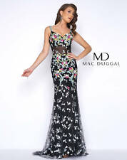 67ced5c667 NEW MAC DUGGAL 50386 Black Floral Beaded Embroidered Illusion Dress Gown 4  US