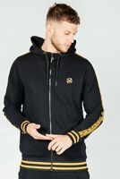 The Presidents Club Mens New Tracksuit Top Zipped Hoodie Tape Black Gold Draxx