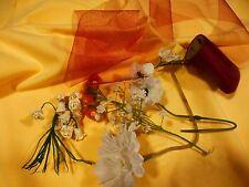 lot des fleurs pour  chapeaux de poupée +2,70 de voile ruban grenat