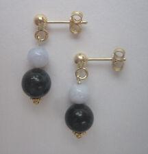 Sodalith-Chalcedon Ohrstecker 925er Silber vergoldet Ohrschmuck Ohrringe Blau
