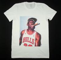 New New Michael Jordan Chicago Bulls Men White T-shirt Size S-4XL TT608