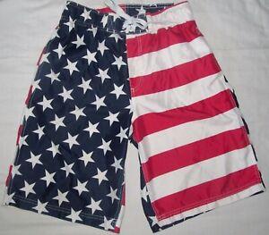 Faded Glory Stars & Stripes American Flag Swim Boardshorts Shorts Size 28 30