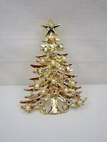 Vintage Tancer II Christmas Tree Brooch Aurora Borealis Faux Pearl Book Piece