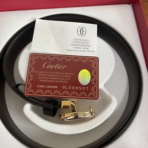 """Cartier Trinity Black Leather Belt Gold Silver Tone Buckle 39.5"""" Long"""