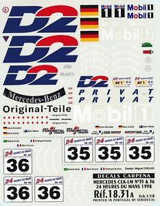 Carpena decals for cars 1/18 - Mercedes CLK LM #35 #36 1998 (Ref 18-37)