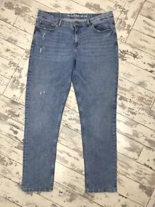 Marks Ans Spencer Blue Distressed Slim Fit Stretchy Jeans Size 14