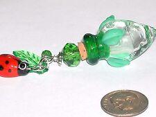 1 Glass CLEAR Strawberry Lemon fruit oil perfume cork BOTTLE pendant Necklace