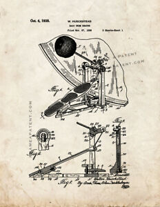 Bass Drum Beater Patent Print Old Look