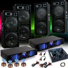 6000W Party Fasching Musikanlage 4x Boxen 2x Verstärker USB Mixer DJ-Fastnacht