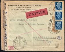 1384 ITALY TO BERGIUM CENSORED EXPRESS COVER 1943 TWO CENSORS ROMA - BRUXELLES