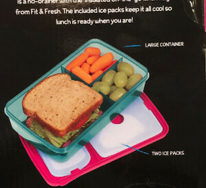 Fit & Fresh Bento new expand more space large container ice packsfor Lunch Box