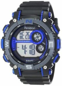 Armitron 40/8284BLU, Black Resin Watch, 100 Meter WR, Chronograph, Alarm