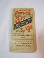 Newark Shoe Store Co. Green Bay Wi Antique Pocket Memo Notepad Book Adv.  T*