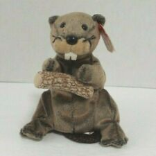 "Ty Beanie Babies Lumber Jack The Beaver Stuffed Animal Toy DOB 3-22-03 6"" Tall"