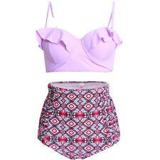 Plus Size Womens High Waist Padded Bikini Set Push Up Swimsuit Beach Swimwear