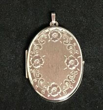 NEW Sterling Silver Oval Locket 925 Pendant Floral Design Free Shipping Option