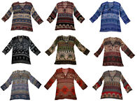 Indian Top Womens Tank Cotton Shirt T Sleeve Free Shipping Blouse Ethnic Hippie