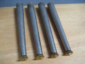 """4 Vintage Silver Metal 12"""" Mid Century Modern Table Legs D Repurpose"""