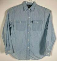 Polo Jeans Co Ralph Lauren Blue Denim Look Button Up Shirt Mens Size M, Blue