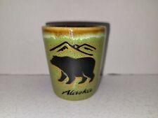 Ceramic Shot Glass Alaska Bear Green Brown Glaze Agiftcorp Barware Liquor Gift