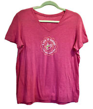LIFE IS GOOD Women's 'Take Your Sweet Time' Pink V-Neck T-Shirt - Size Large