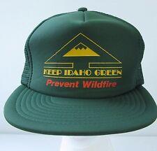 Vtg Keep Idaho Green Prevent Wildfire Logo Trucker Hat Mesh Snapback Sport Cap
