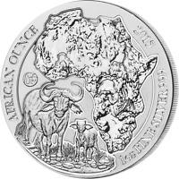 Rwanda 2015   50 Francs Cape Buffalo Bullion   Fabulous 15   1oz BU Silver Coin