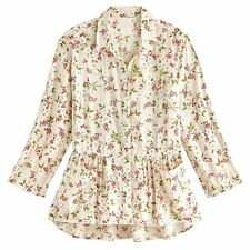 April Cornell Women's Floral Tunic - Pink Flowers on White Top, Roll Tab Sleeves