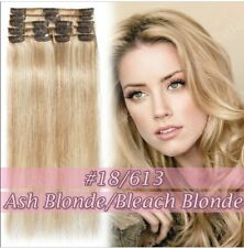8PCS Full Head Clip in 100% Remy Human Hair Extensions 20inch length BLONDE