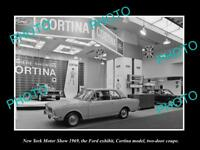 OLD LARGE HISTORIC PHOTO OF NEW YORK MOTOR SHOW 1969 FORD CORTINA COUPE DISPLAY