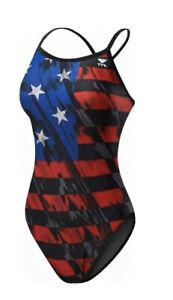 New TYR Women's Valor Red White Blue USA Diamondfit Swimsuit, One Piece, Size 32