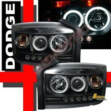 05 06 07 Dodge Dakota ST SLT Black CCFL Halo LED Projector Headlights RH + LH