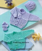 (25) DK Knitting Pattern for Baby Cardigans, Hat and Mittens, Premature 12-22''