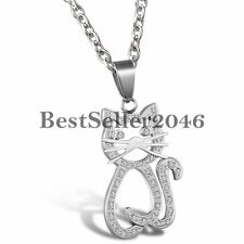 "Charm Cute Rhinestone Cat Pendant Stainless Steel Necklace 22"" Ladies Girls Gift"
