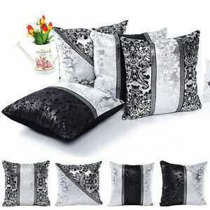 Cushion Black Silver Diamante Crushed Sparkle Bling Throw Cover For Sofa Decors