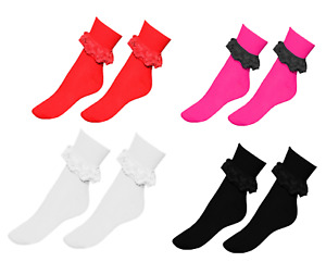 Ladies GIrls School Colourful Frilly Lace Ankle Socks in 3 Colours Size 4-6