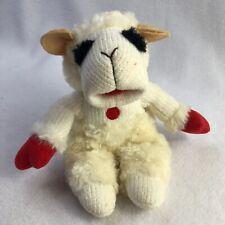 "Aurora Plush Lamb Chop Stuffed Animal 8"" 2001 White Bean Bag Sheep"