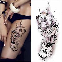 Pflaumenblüte Einmal Tattoos Temporary Tattoo Schwarz Wasserfest Body Sticker