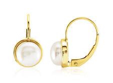 14K Pearl Earrings 14k Yellow Gold Freshwater White Pearl Leverback AAA Pearls